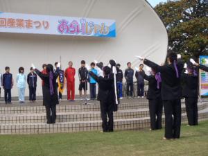 12月3日開催市町村対抗駅伝の選手に新居高校応援団がエール